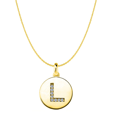 """L"" Diamond Initial 14K Yellow Gold Disk Pendant (0.08ct) - JewelryAffairs  - 1"