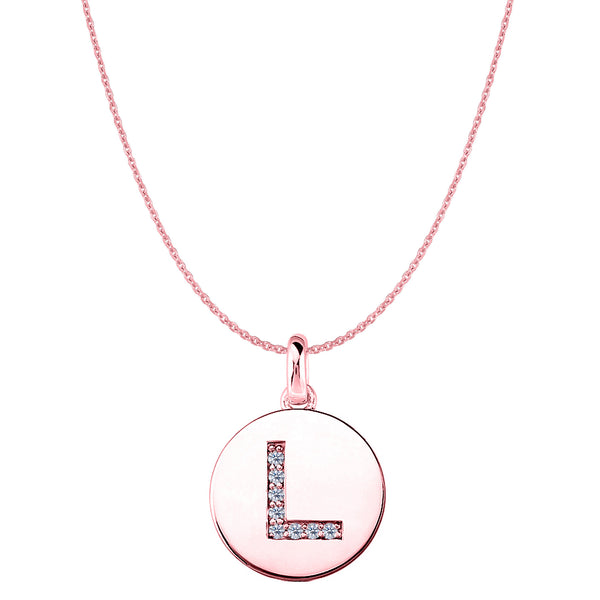 """L"" Diamond Initial 14K Rose Gold Disk Pendant (0.08ct) - JewelryAffairs  - 1"
