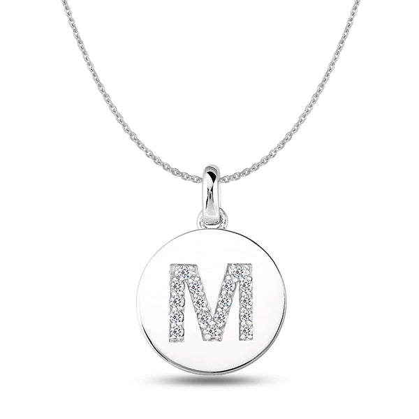 """M"" Diamond Initial  14K White Gold Disk Pendant (0.17ct) - JewelryAffairs  - 1"