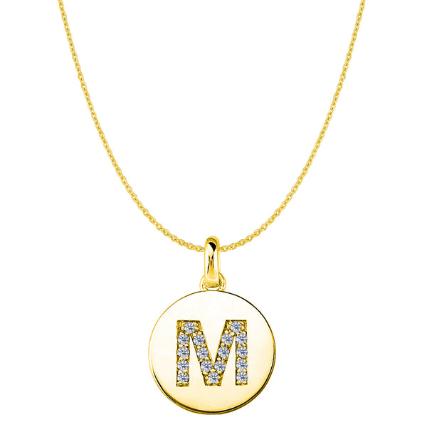"""M"" Diamond Initial 14K Yellow Gold Disk Pendant (0.17ct) - JewelryAffairs  - 1"