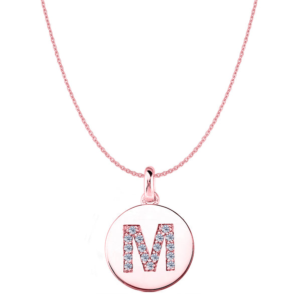 """M"" Diamond Initial 14K Rose Gold Disk Pendant (0.17ct) - JewelryAffairs  - 1"