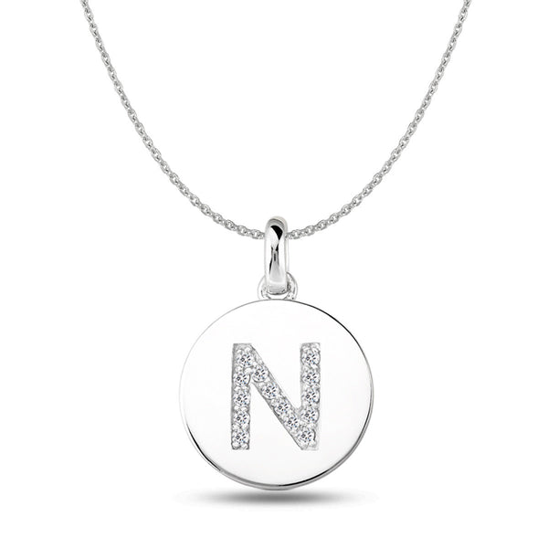 """N"" Diamond Initial  14K White Gold Disk Pendant (0.14ct) - JewelryAffairs  - 1"