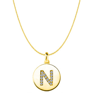 """N"" Diamond Initial 14K Yellow Gold Disk Pendant (0.14ct) - JewelryAffairs  - 1"