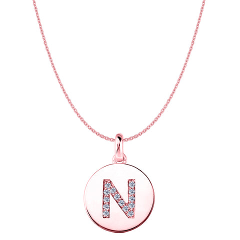 """N"" Diamond Initial 14K Rose Gold Disk Pendant (0.14ct) - JewelryAffairs  - 1"