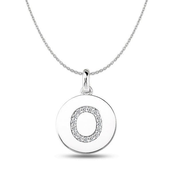"""O"" Diamond Initial 14K White Gold Disk Pendant (0.16ct) - JewelryAffairs  - 1"