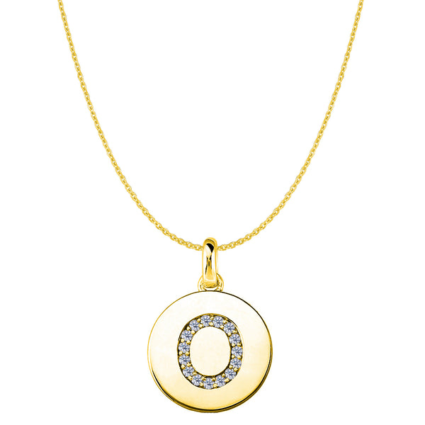"""O"" Diamond Initial 14K Yellow Gold Disk Pendant (0.16ct) - JewelryAffairs  - 1"