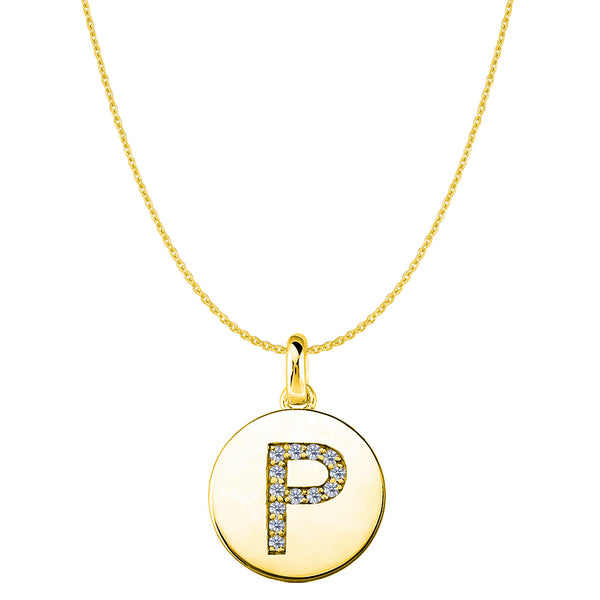 """P"" Diamond Initial 14K Yellow Gold Disk Pendant (0.13ct) - JewelryAffairs  - 1"