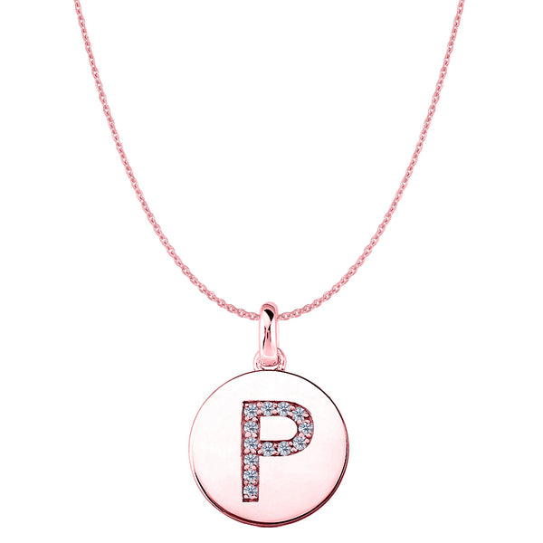 """P"" Diamond Initial 14K Rose Gold Disk Pendant (0.13ct) - JewelryAffairs  - 1"