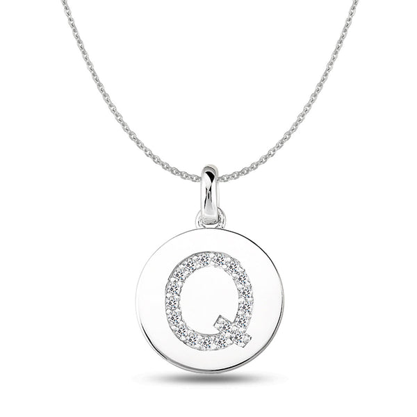 """Q"" Diamond Initial 14K White Gold Disk Pendant (0.18ct) - JewelryAffairs  - 1"