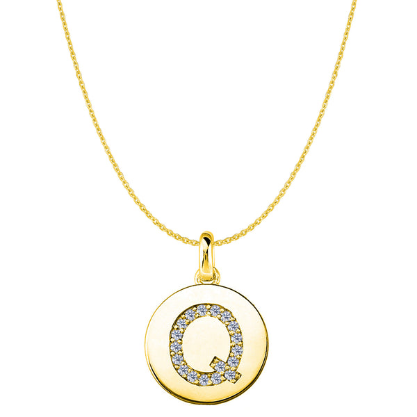 """Q"" Diamond Initial 14K Yellow Gold Disk Pendant (0.18ct) - JewelryAffairs  - 1"