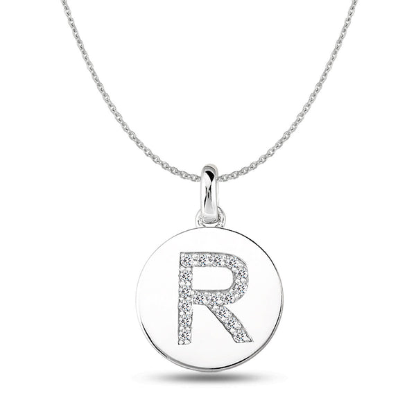 """R"" Diamond Initial 14K White Gold Disk Pendant (0.17ct) - JewelryAffairs  - 1"