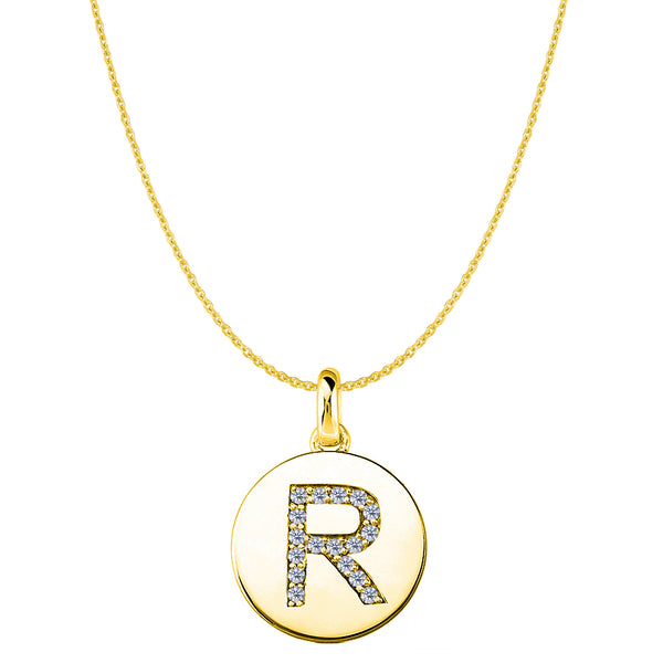 """R"" Diamond Initial 14K Yellow Gold Disk Pendant (0.17ct) - JewelryAffairs  - 1"