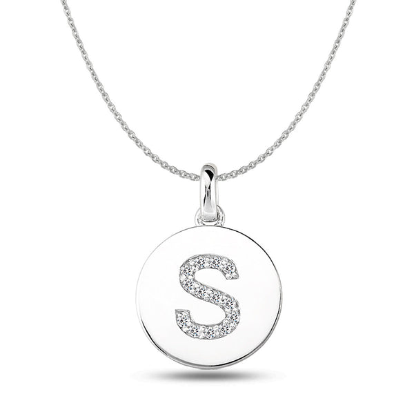 """S"" Diamond Initial 14K White Gold Disk Pendant (0.14ct) - JewelryAffairs  - 1"
