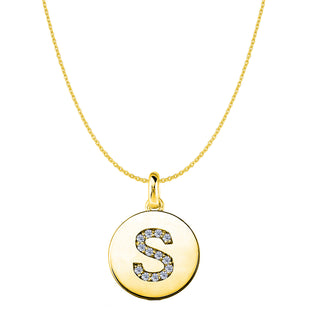 """S"" Diamond Initial 14K Yellow Gold Disk Pendant (0.14ct) - JewelryAffairs  - 1"
