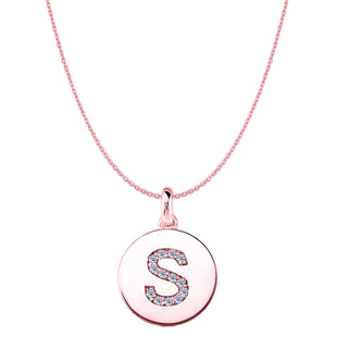 """S"" Diamond Initial 14K Rose Gold Disk Pendant (0.14ct) - JewelryAffairs  - 1"