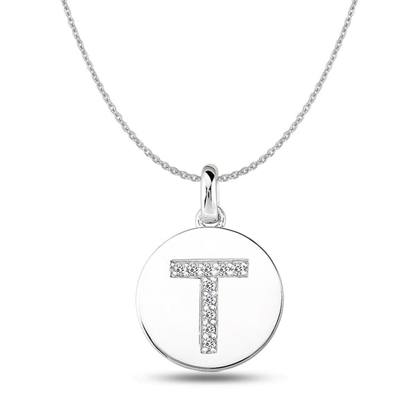 """T"" Diamond Initial 14K White Gold Disk Pendant (0.10ct) - JewelryAffairs  - 1"