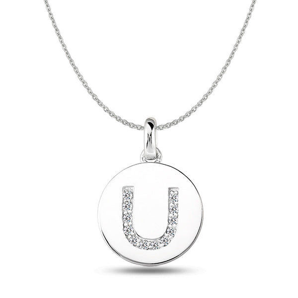 """U"" Diamond Initial 14K White Gold Disk Pendant (0.12ct) - JewelryAffairs  - 1"
