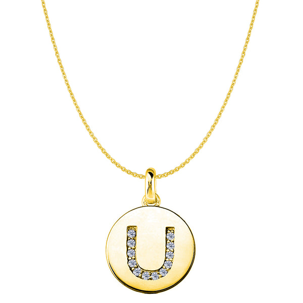 """U"" Diamond Initial 14K Yellow Gold Disk Pendant (0.12ct) - JewelryAffairs  - 1"