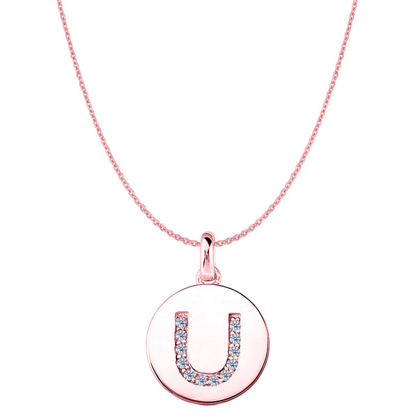 """U"" Diamond Initial 14K Rose Gold Disk Pendant (0.12ct) - JewelryAffairs  - 1"