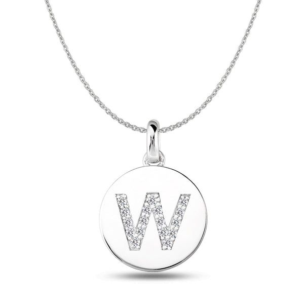"""W"" Diamond Initial 14K White Gold Disk Pendant (0.17ct) - JewelryAffairs  - 1"