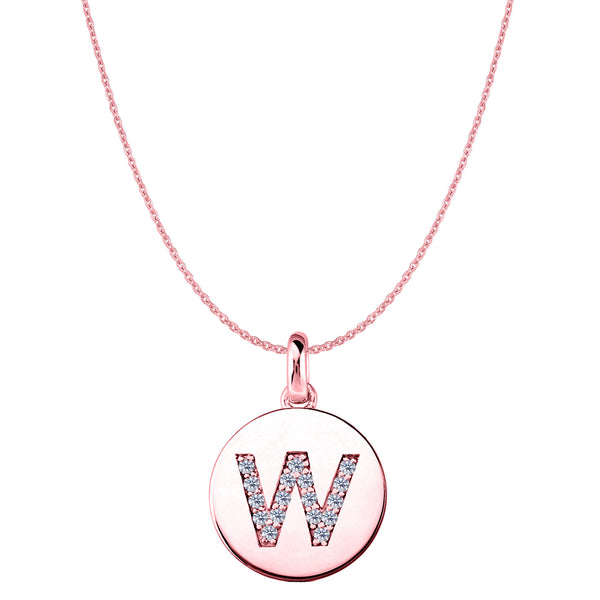 """W"" Diamond Initial 14K Rose Gold Disk Pendant (0.17ct) - JewelryAffairs  - 1"