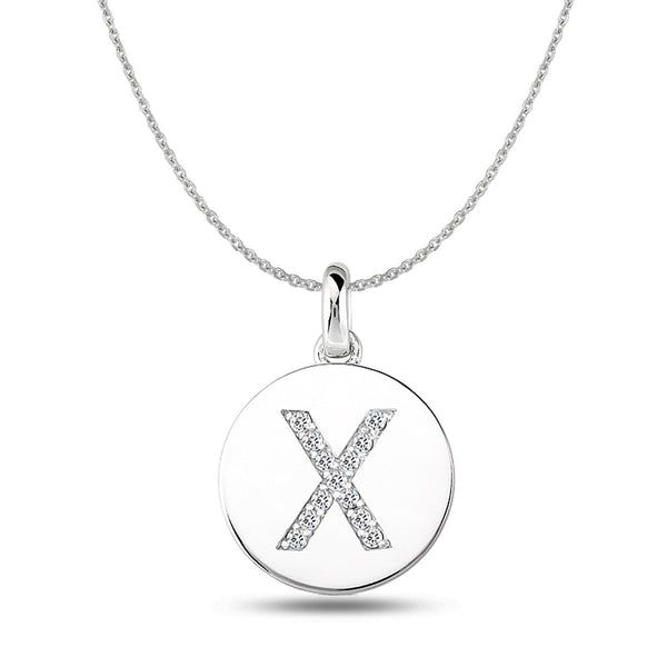 """X"" Diamond Initial 14K White Gold Disk Pendant (0.13ct) - JewelryAffairs  - 1"