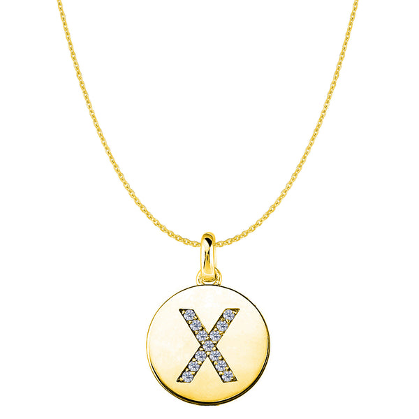 """X"" Diamond Initial 14K Yellow Gold Disk Pendant (0.13ct) - JewelryAffairs  - 1"