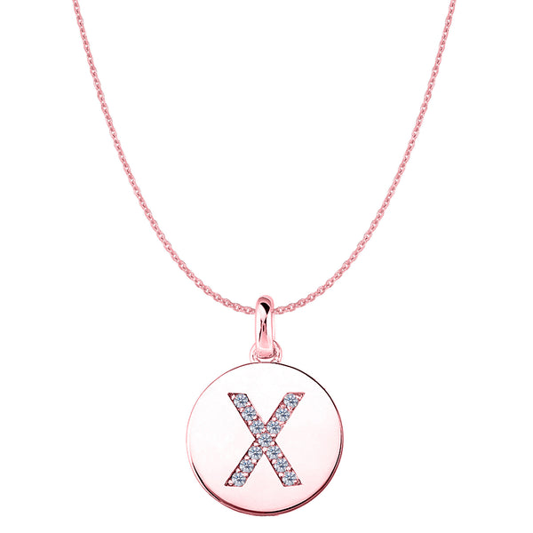 """X"" Diamond Initial 14K Rose Gold Disk Pendant (0.13ct) - JewelryAffairs  - 1"