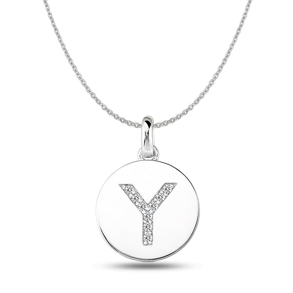 """Y"" Diamond Initial 14K White Gold Disk Pendant (0.09ct) - JewelryAffairs  - 1"