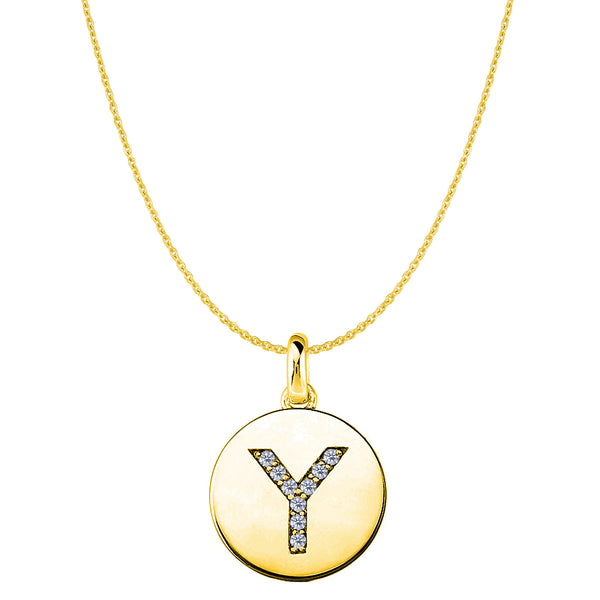 """Y"" Diamond Initial 14K Yellow Gold Disk Pendant (0.09ct) - JewelryAffairs  - 1"