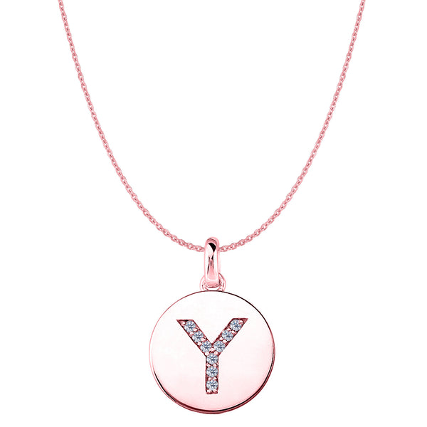 """Y"" Diamond Initial 14K Rose Gold Disk Pendant (0.09ct) - JewelryAffairs  - 1"