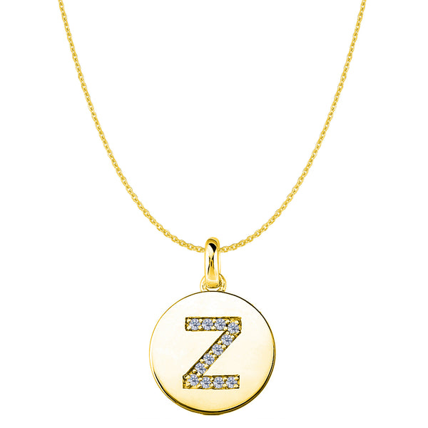 """Z"" Diamond Initial 14K Yellow Gold Disk Pendant (0.12ct) - JewelryAffairs  - 1"
