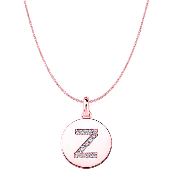 """Z"" Diamond Initial 14K Rose Gold Disk Pendant (0.12ct) - JewelryAffairs  - 1"