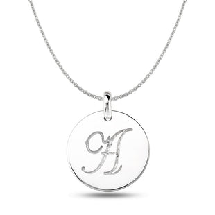 """A"" 14K White Gold Script Engraved Initial Disk Pendant - JewelryAffairs  - 1"