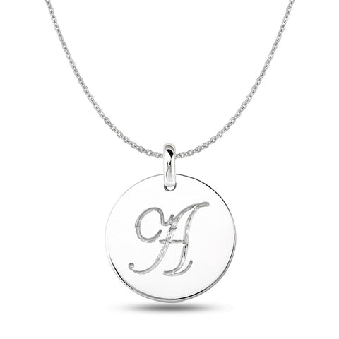 Initial pendant necklaces in white yellow and rose solid gold a 14k white gold script engraved initial disk pendant jewelryaffairs 1 mozeypictures Image collections