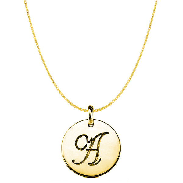 """A"" 14K Yellow Gold Script Engraved Initial Disk Pendant - JewelryAffairs  - 1"
