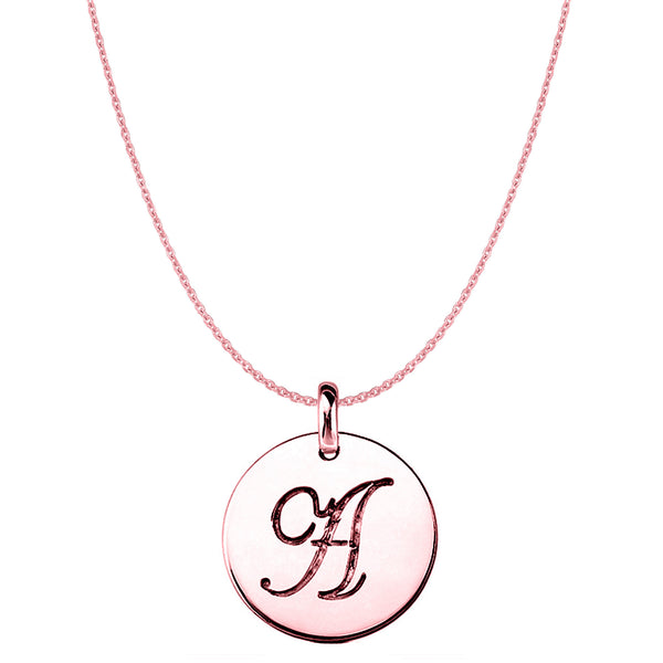 """A"" 14K Rose Gold Script Engraved Initial Disk Pendant - JewelryAffairs  - 1"