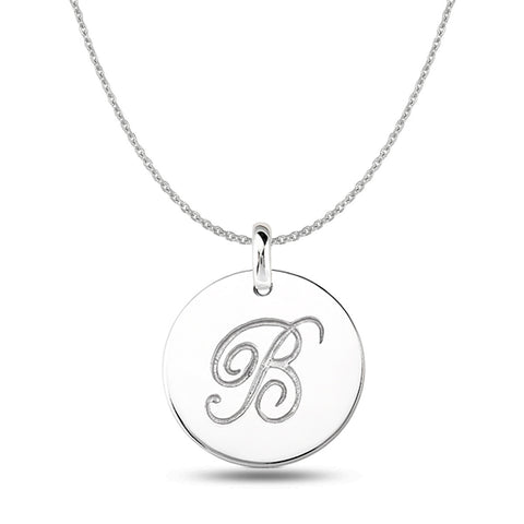 """B"" 14K White Gold Script Engraved Initial  Disk Pendant - JewelryAffairs  - 1"