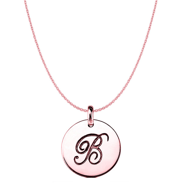 """B"" 14K Rose Gold Script Engraved Initial Disk Pendant - JewelryAffairs  - 1"