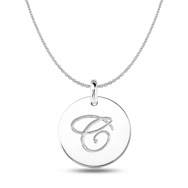 """C"" 14K White Gold Script Engraved Initial  Disk Pendant - JewelryAffairs  - 1"