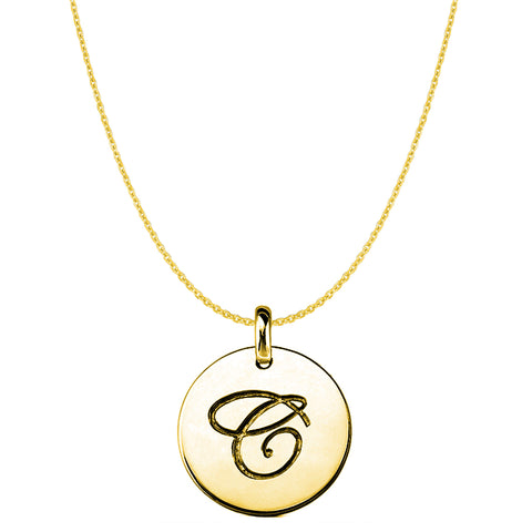 """C"" 14K Yellow Gold Script Engraved Initial Disk Pendant - JewelryAffairs  - 1"