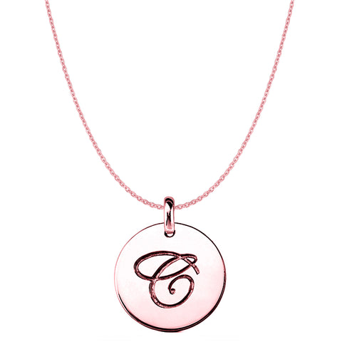 """C"" 14K Rose Gold Script Engraved Initial Disk Pendant - JewelryAffairs  - 1"