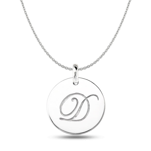 """D"" 14K White Gold Script Engraved Initial  Disk Pendant - JewelryAffairs  - 1"
