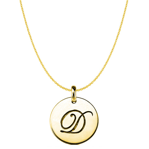 """D"" 14K Yellow Gold Script Engraved Initial Disk Pendant - JewelryAffairs  - 1"