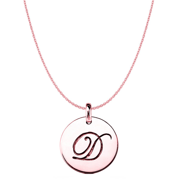 """D""14K Rose Gold Script Engraved Initial Disk Pendant - JewelryAffairs  - 1"