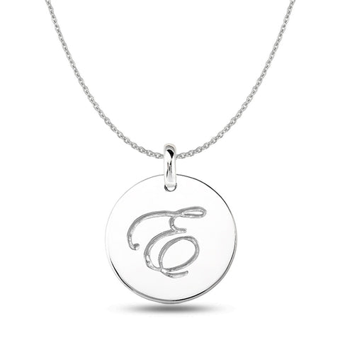 """E"" 14K White Gold Script Engraved Initial  Disk Pendant - JewelryAffairs  - 1"
