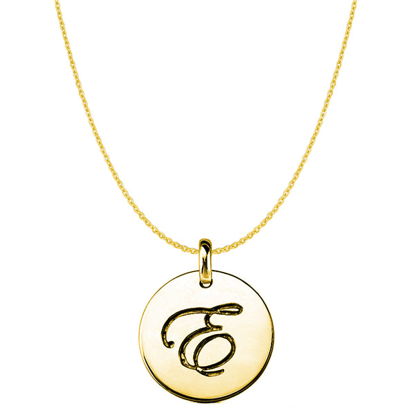 """E"" 14K Yellow Gold Script Engraved Initial Disk Pendant - JewelryAffairs  - 1"