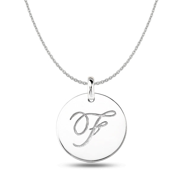 """F"" 14K White Gold Script Engraved Initial  Disk Pendant - JewelryAffairs  - 1"