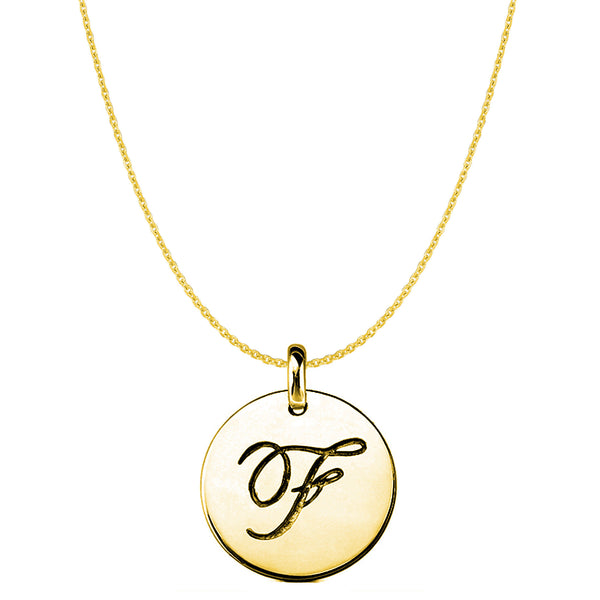 """F"" 14K Yellow Gold Script Engraved Initial Disk Pendant - JewelryAffairs  - 1"
