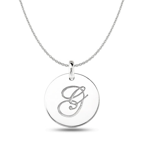 """G"" 14K White Gold Script Engraved Initial  Disk Pendant - JewelryAffairs  - 1"